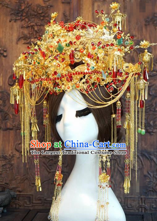 Traditional Chinese Wedding Luxury Phoenix Coronet Hair Accessories Ancient Bride Tassel Hairpins Complete Set for Women