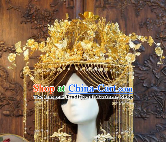 Traditional Chinese Wedding Luxury Golden Butterfly Phoenix Coronet Hair Accessories Ancient Bride Tassel Hairpins Complete Set for Women