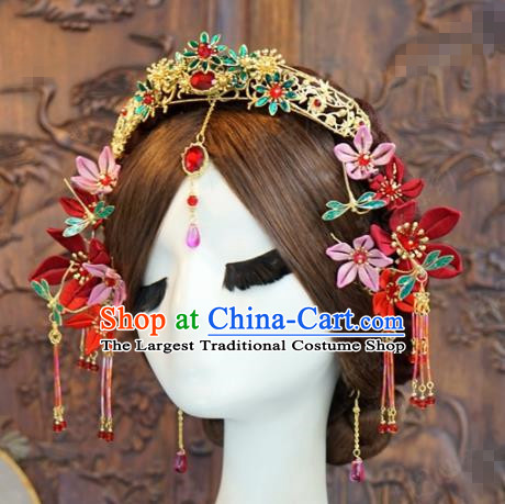 Traditional Chinese Wedding Hair Accessories Luxury Hair Crown Ancient Bride Hairpins Complete Set for Women