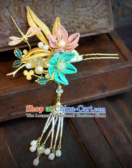 Traditional Chinese Ancient Bride Dragonfly Hair Clip Hanfu Court Queen Hairpins Handmade Hair Accessories for Women