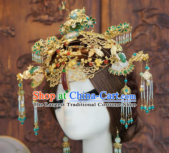 Traditional Chinese Wedding Luxury Agate Phoenix Coronet Hair Accessories Ancient Bride Hairpins Complete Set for Women