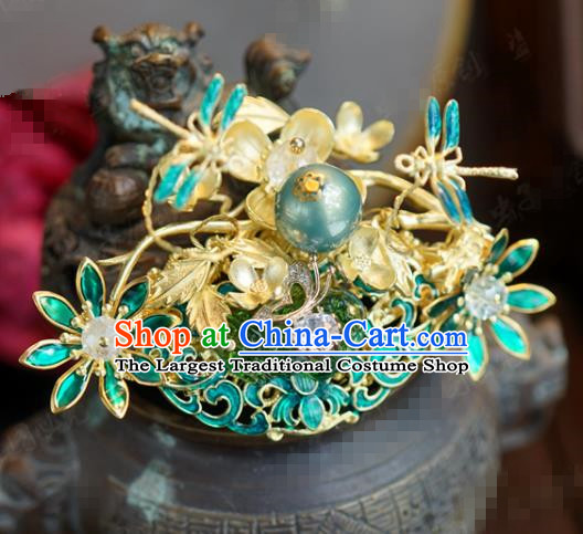 Traditional Chinese Ancient Bride Grass Hair Crown Hanfu Court Queen Hairpins Handmade Hair Accessories for Women