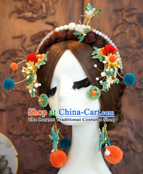 Traditional Chinese Wedding Luxury Hair Accessories Ancient Bride Hairpins Complete Set for Women
