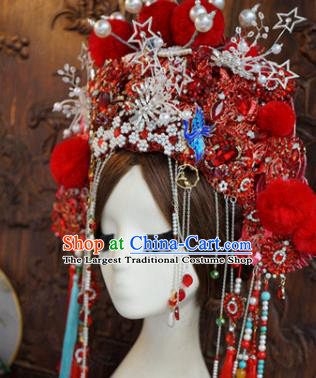 Traditional Chinese Wedding Red Phoenix Coronet Luxury Hair Accessories Ancient Bride Hairpins Complete Set for Women