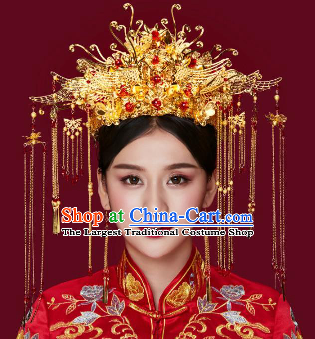Traditional Chinese Wedding Phoenix Coronet Luxury Hair Accessories Ancient Bride Hairpins Complete Set for Women