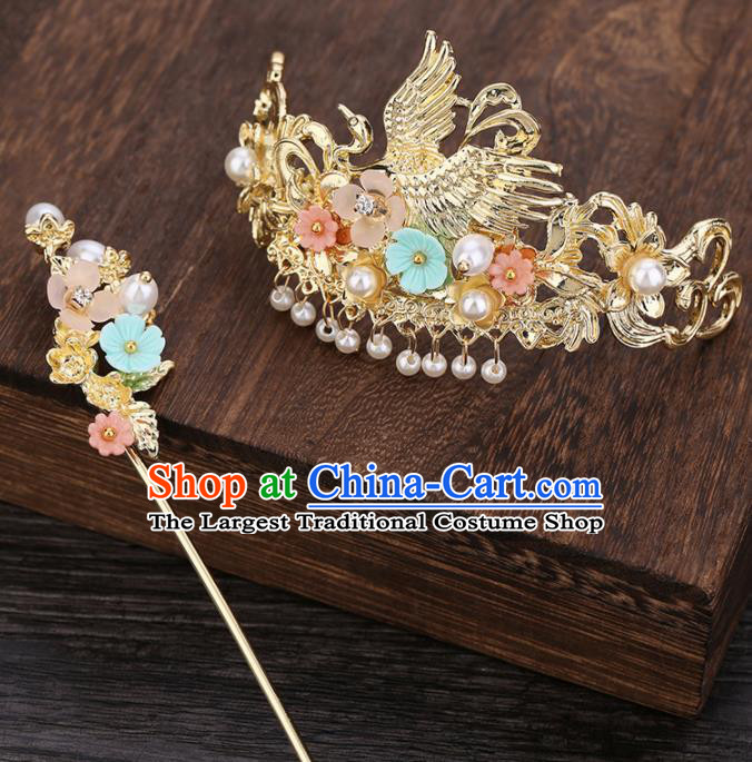 Traditional Chinese Ancient Hanfu Crane Hair Crown Court Queen Hairpins Handmade Hair Accessories for Women