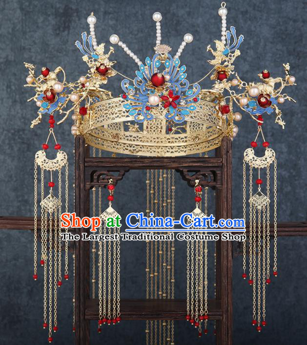 Traditional Chinese Wedding Blueing Phoenix Coronet Luxury Hair Accessories Ancient Bride Hairpins Complete Set for Women