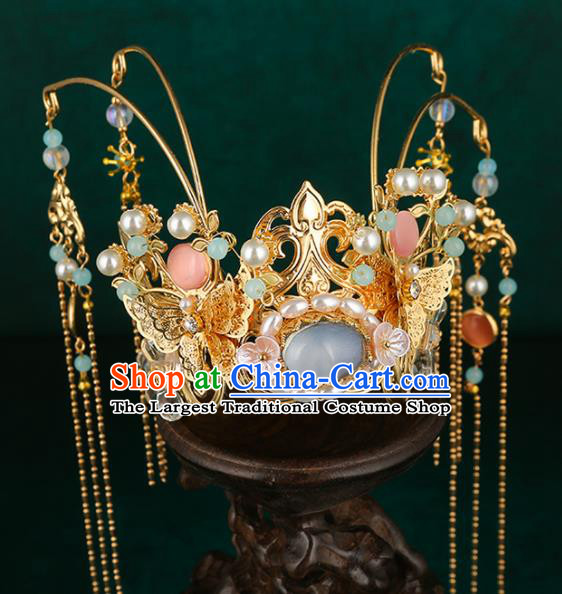 Traditional Chinese Wedding Pearls Blue Hair Crown Hair Accessories Ancient Bride Tassel Hairpins Complete Set for Women