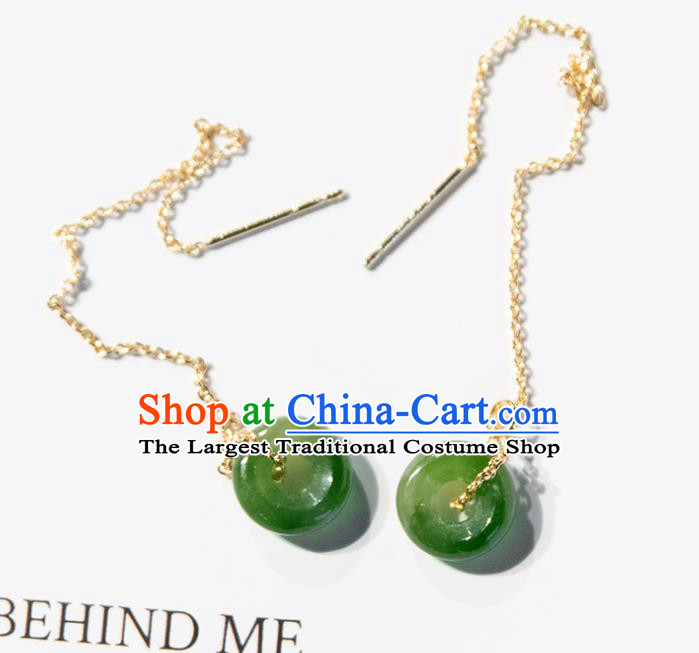 Traditional Chinese Handmade Court Green Ring Tassel Ear Accessories Classical Earrings for Women