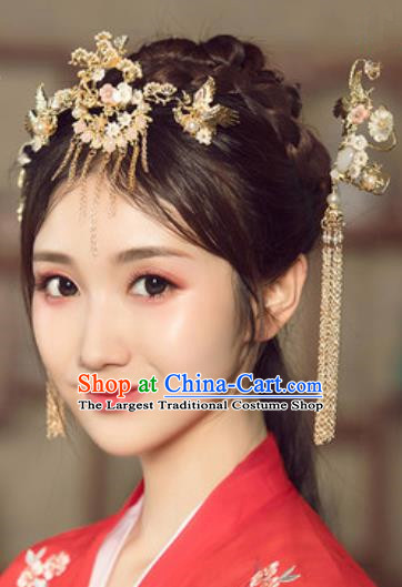 Traditional Chinese Wedding Court Crane Hair Crown Hair Accessories Ancient Bride Tassel Hairpins Complete Set for Women