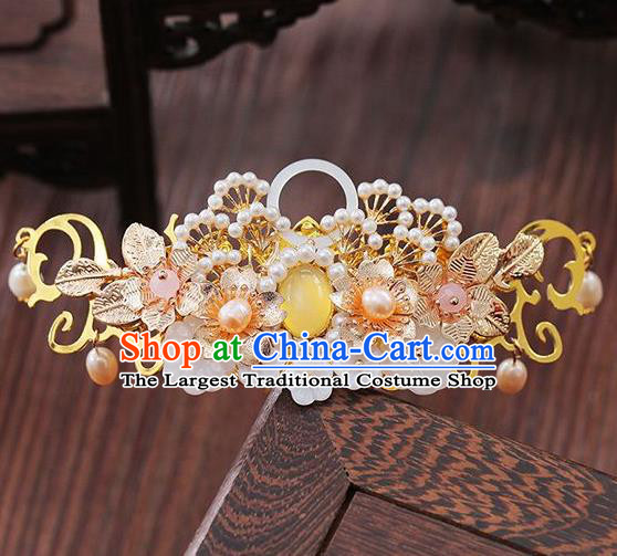 Traditional Chinese Hanfu Pine Hair Crown Ancient Court Queen Hairpins Handmade Hair Accessories for Women