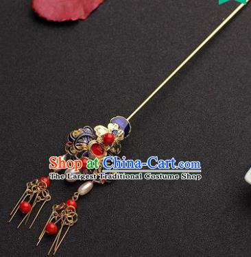 Traditional Chinese Hanfu Blueing Hair Clip Ancient Court Queen Hairpins Handmade Hair Accessories for Women