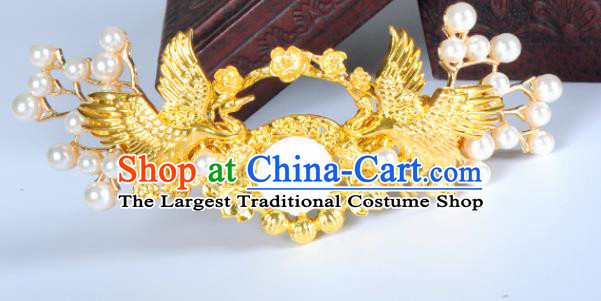 Traditional Chinese Ancient Hanfu Golden Crane Hair Crown Court Queen Hairpins Handmade Hair Accessories for Women