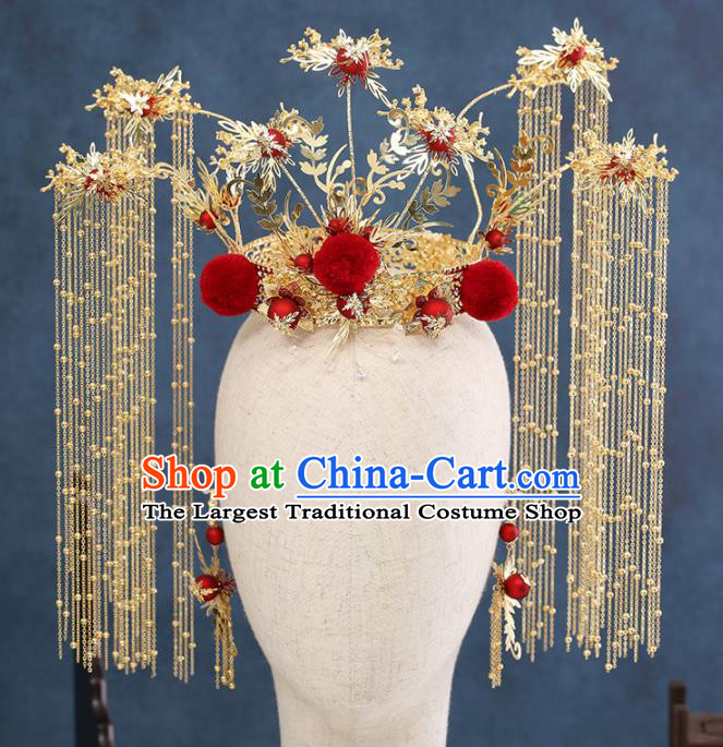 Traditional Chinese Wedding Golden Tassel Phoenix Coronet Handmade Ancient Bride Hairpins Hair Accessories Complete Set