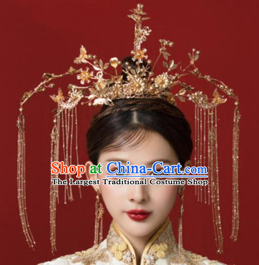 Traditional Chinese Wedding Tassel Phoenix Coronet Hair Accessories Ancient Bride Hairpins Complete Set for Women
