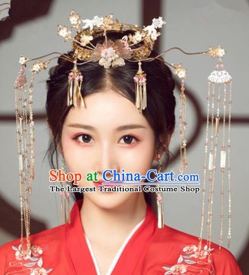 Traditional Chinese Wedding Court Tassel Phoenix Coronet Hair Accessories Ancient Bride Tassel Hairpins Complete Set