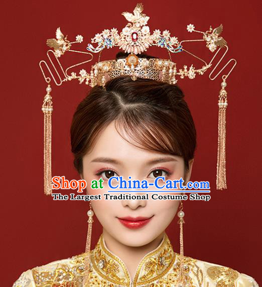 Traditional Chinese Wedding Luxury Crane Phoenix Coronet Ancient Bride Hairpins Hair Accessories Complete Set