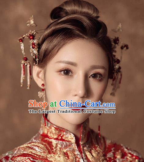 Traditional Chinese Handmade Wedding Hair Comb Ancient Bride Hairpins Luxury Hair Accessories Complete Set