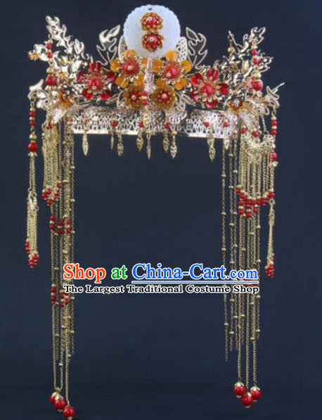 Traditional Chinese Handmade Wedding Jade Phoenix Coronet Ancient Bride Hairpins Luxury Hair Accessories Complete Set