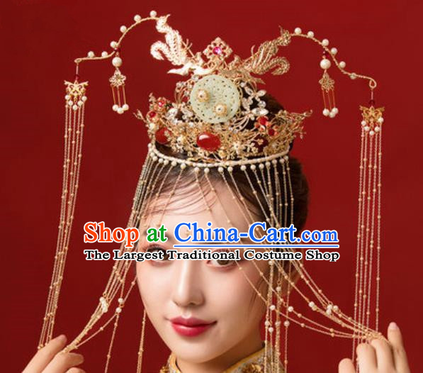 Traditional Chinese Wedding Jade Phoenix Coronet Hair Accessories Ancient Bride Tassel Hairpins Complete Set