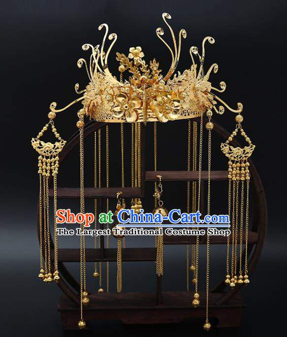 Traditional Chinese Wedding Luxury Golden Phoenix Coronet Hair Accessories Ancient Bride Hairpins Complete Set