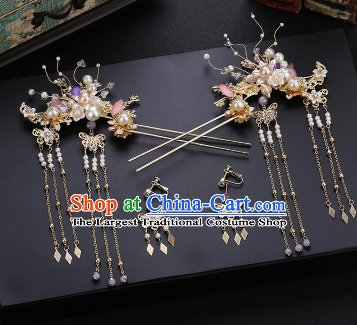 Traditional Chinese Wedding Hair Comb Handmade Ancient Bride Hairpins Hair Accessories Complete Set