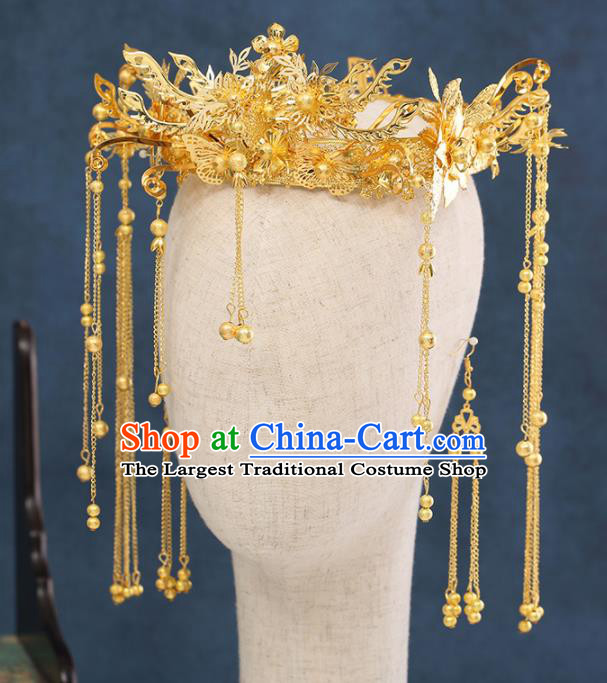 Traditional Chinese Wedding Tassel Phoenix Coronet Handmade Ancient Bride Hairpins Hair Accessories Complete Set