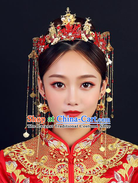 Traditional Chinese Wedding Red Leaf Phoenix Coronet Handmade Ancient Bride Hairpins Hair Accessories Complete Set