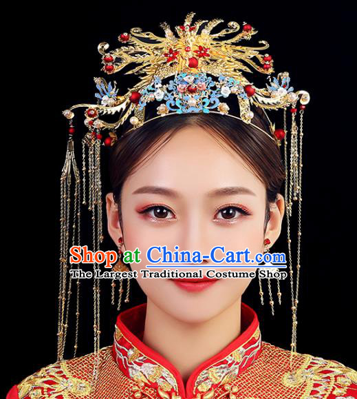 Traditional Chinese Wedding Golden Phoenix Coronet Handmade Ancient Bride Hairpins Hair Accessories Complete Set