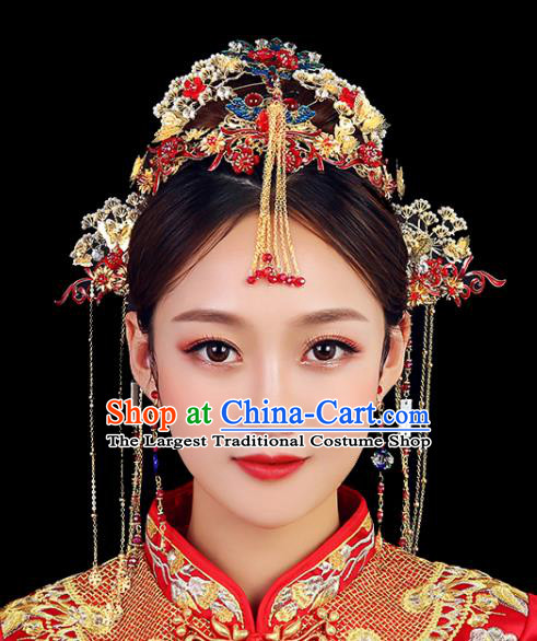 Traditional Chinese Wedding Blueing Phoenix Coronet Handmade Ancient Bride Hairpins Hair Accessories Complete Set