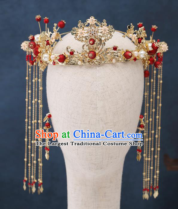 Traditional Chinese Wedding Handmade Red Beads Phoenix Coronet Ancient Bride Hairpins Hair Accessories Complete Set
