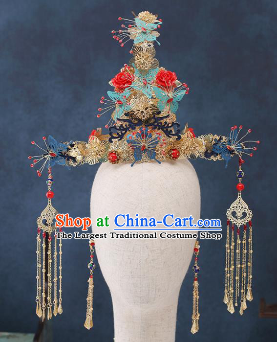 Traditional Chinese Wedding Handmade Red Roses Phoenix Coronet Ancient Bride Hairpins Hair Accessories Complete Set