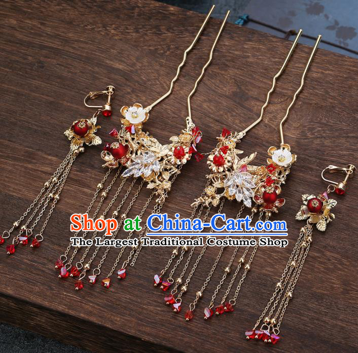 Traditional Chinese Wedding Handmade Tassel Hair Crown Ancient Bride Hairpins Hair Accessories Complete Set