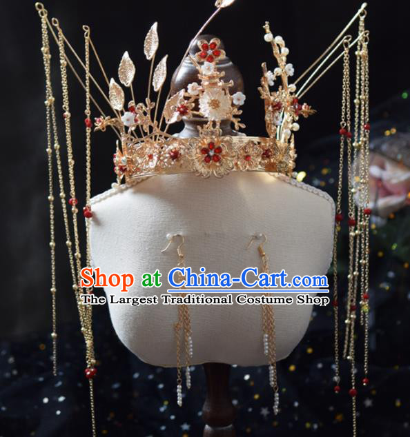 Traditional Chinese Handmade Tassel Phoenix Coronet Ancient Wedding Bride Hairpins Hair Accessories for Women