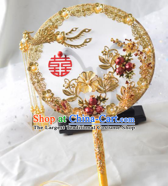 Traditional Chinese Handmade Wedding Golden Phoenix Round Fans Ancient Bride Palace Fan for Women