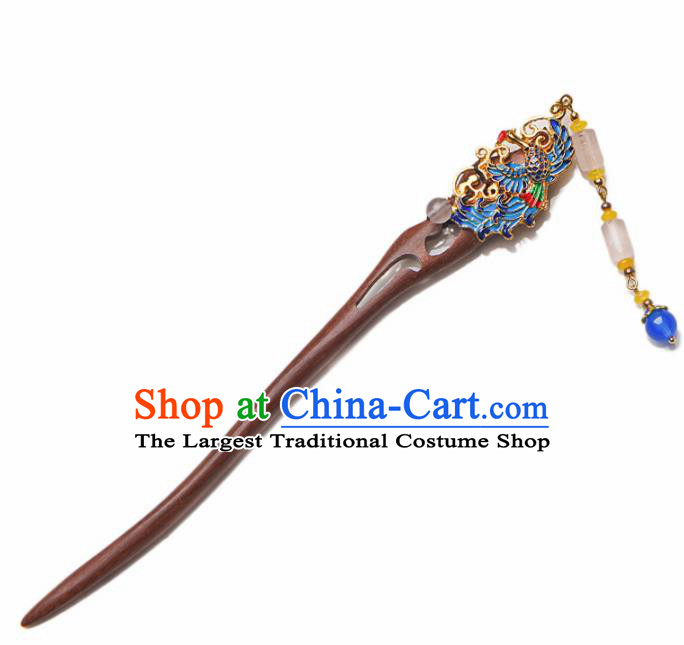 Traditional Chinese Hanfu Blueing Phoenix Ebony Hair Clip Ancient Court Princess Hairpins Hair Accessories for Kids