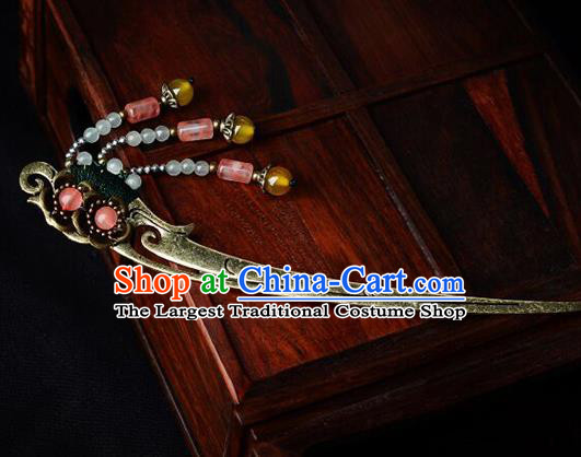 Traditional Chinese Hanfu Brass Hair Clip Ancient Court Princess Hairpins Hair Accessories for Kids