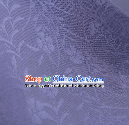 Traditional Chinese Classical Orchid Pattern Violet Silk Fabric Ancient Hanfu Dress Silk Cloth