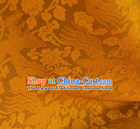 Traditional Chinese Classical Phoenix Flowers Pattern Yellow Silk Fabric Ancient Hanfu Dress Silk Cloth