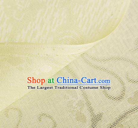 Traditional Chinese Classical Plum Blossom Pattern Yellow Silk Fabric Ancient Hanfu Dress Silk Cloth