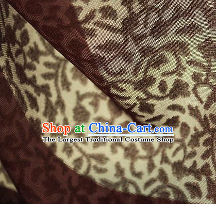 Traditional Chinese Classical Twine Pattern Maroon Silk Fabric Ancient Hanfu Dress Silk Cloth