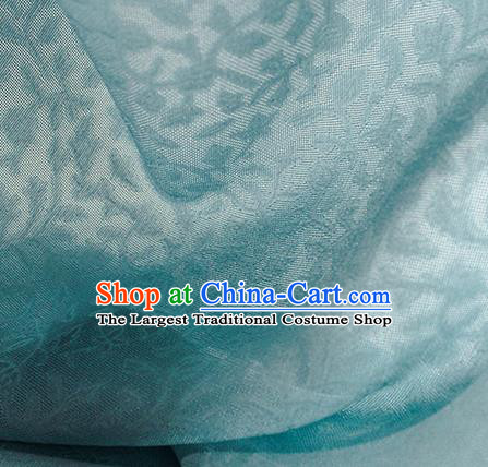 Traditional Chinese Classical Twine Pattern Light Blue Silk Fabric Ancient Hanfu Dress Silk Cloth