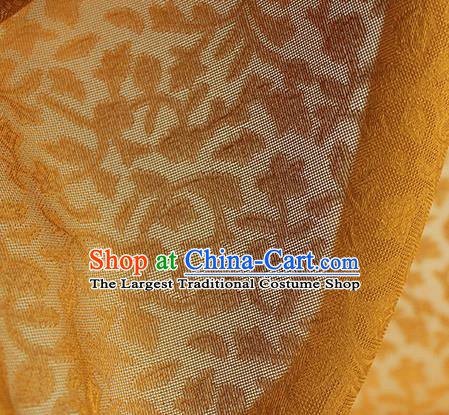 Traditional Chinese Classical Twine Pattern Yellow Silk Fabric Ancient Hanfu Dress Silk Cloth