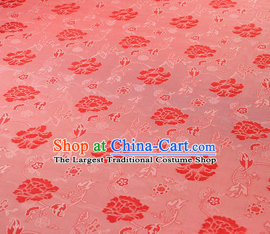 Traditional Chinese Classical Twine Peony Pattern Red Silk Fabric Ancient Hanfu Dress Silk Cloth