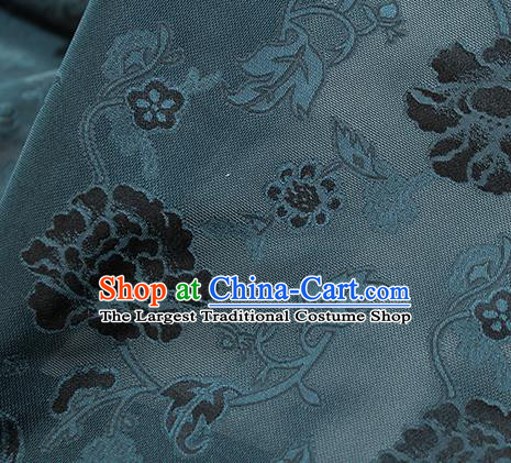 Traditional Chinese Classical Twine Peony Pattern Atrovirens Silk Fabric Ancient Hanfu Dress Silk Cloth