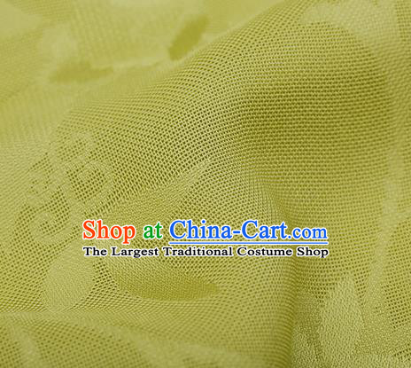 Traditional Chinese Classical Calyx Pattern Yellow Silk Fabric Ancient Hanfu Dress Silk Cloth