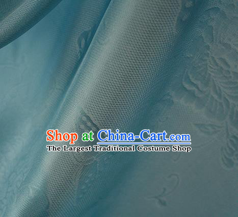 Traditional Chinese Classical Peony Butterfly Pattern Green Silk Fabric Ancient Hanfu Dress Silk Cloth