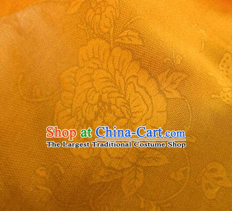 Traditional Chinese Classical Peony Butterfly Pattern Yellow Silk Fabric Ancient Hanfu Dress Silk Cloth
