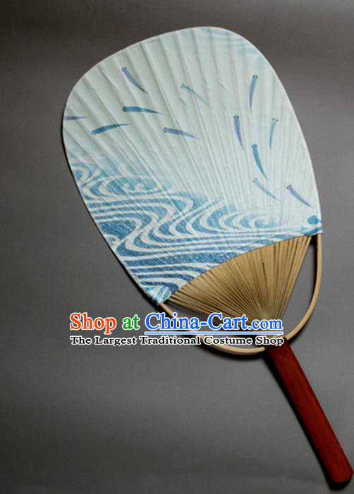 Traditional Chinese Handmade Blue Paper Palace Fans Bamboo Fans
