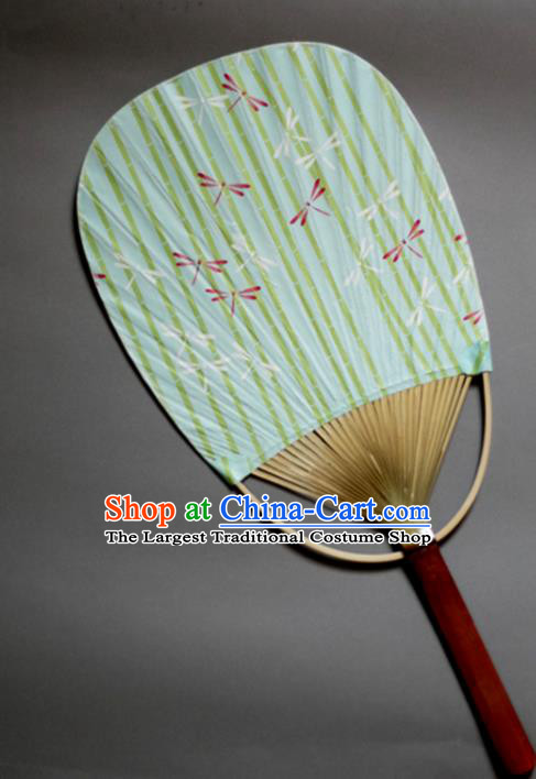 Traditional Chinese Handmade Green Paper Palace Fans Bamboo Fans